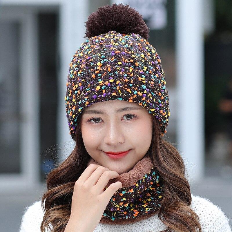 2018 Winter Knitted Hat Women Scarf Caps Mask Gorras Bonnet Warm Winter Hats For Girls   Skullies     Beanies
