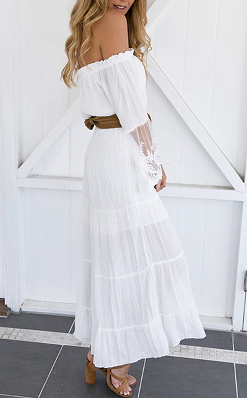 2019 Fashion Women Summer Boho Long Maxi Dress Off Shoulder Beachwear Beach Dresses Sundress Cleaning The Oral Cavity.