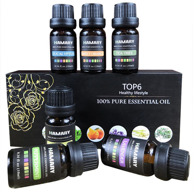 6PCS Essential Oil Set Pure Natural Plant Aroma Therapeutic Aromatherapy Diffuser Humidifier Water-soluble Massage Essential Oil