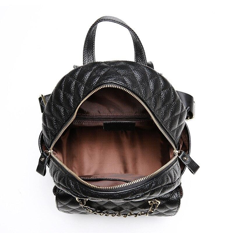 ALNEED sac à dos en cuir véritable femmes petit sac à dos pour concepteur d'école sacs de luxe femmes sacs 2019 treillis de diamant Mochila - 5