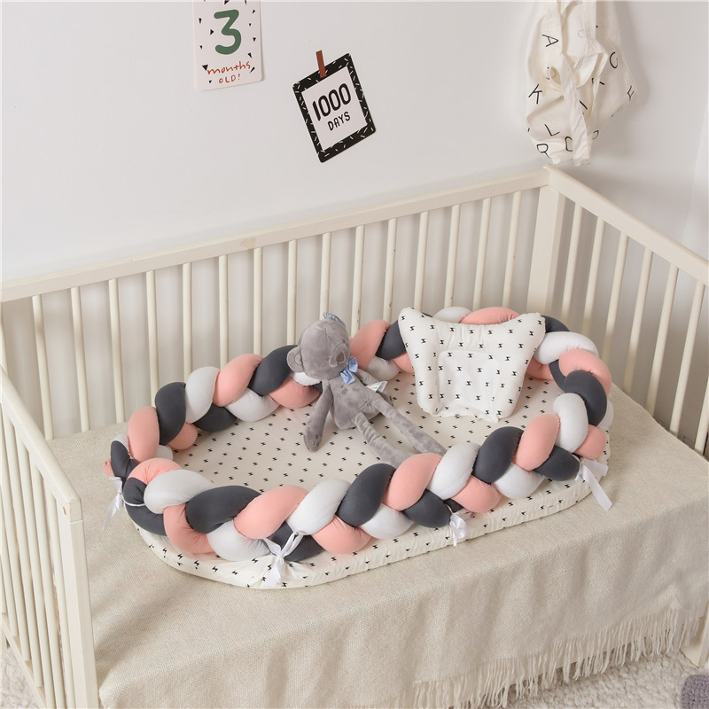 Baby Nest Crib With Bumper Infant Crib Bumper Bed Portector Travel Bed Infant Toddler Cotton Cradle