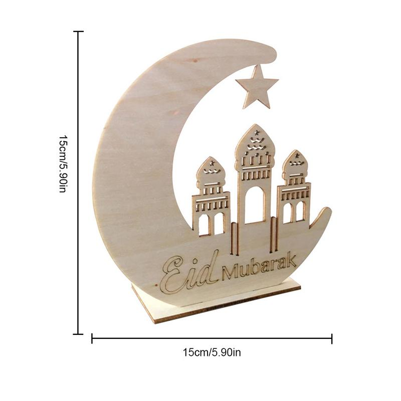 DIY LED Wooden Ornaments Muslim Islamic Palace Eid Decorative Crafts for Home