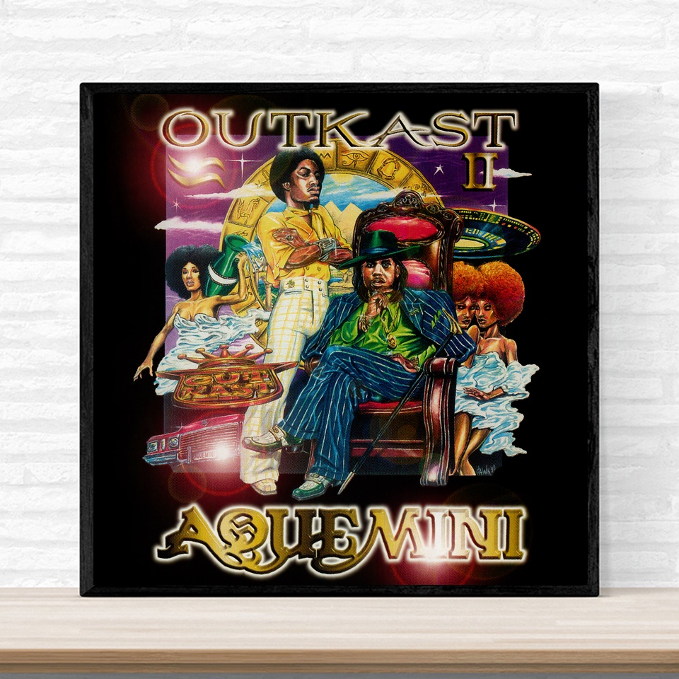 Outkast Aquemini Poster 1998 Andre 3000 Music Album Cover Poster Print on Canvas Home Decor Wall Art No Frame image