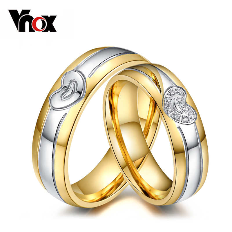 Vnox Heart Wedding Rings for Women Men Stainless Steel Metal 1 piece