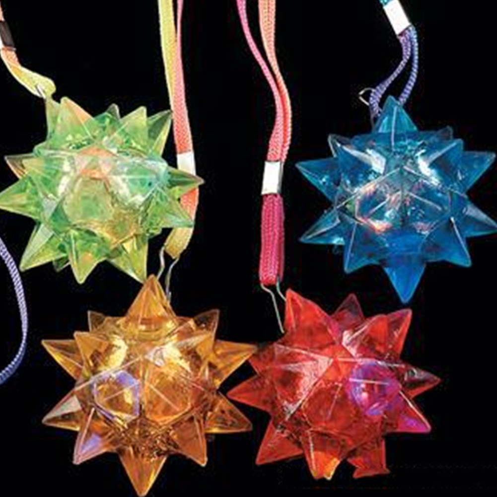 6pcs Party UV Dazzling Toy Crystal Flashing Blinking PVC Gifts Necklace Glow Crystal Star