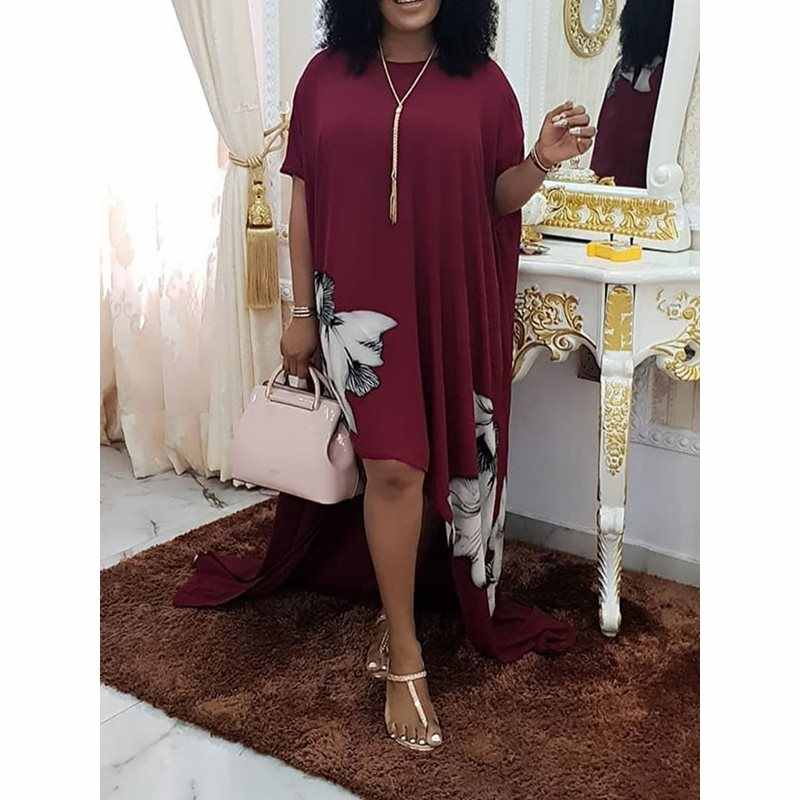 Женское длинное платье, большие размеры, Ретро стиль, цветочный принт, шифон, для девушек, летнее, свободное, простое, повседневное, вечерние, элегантное, футболка макси, платья 2019