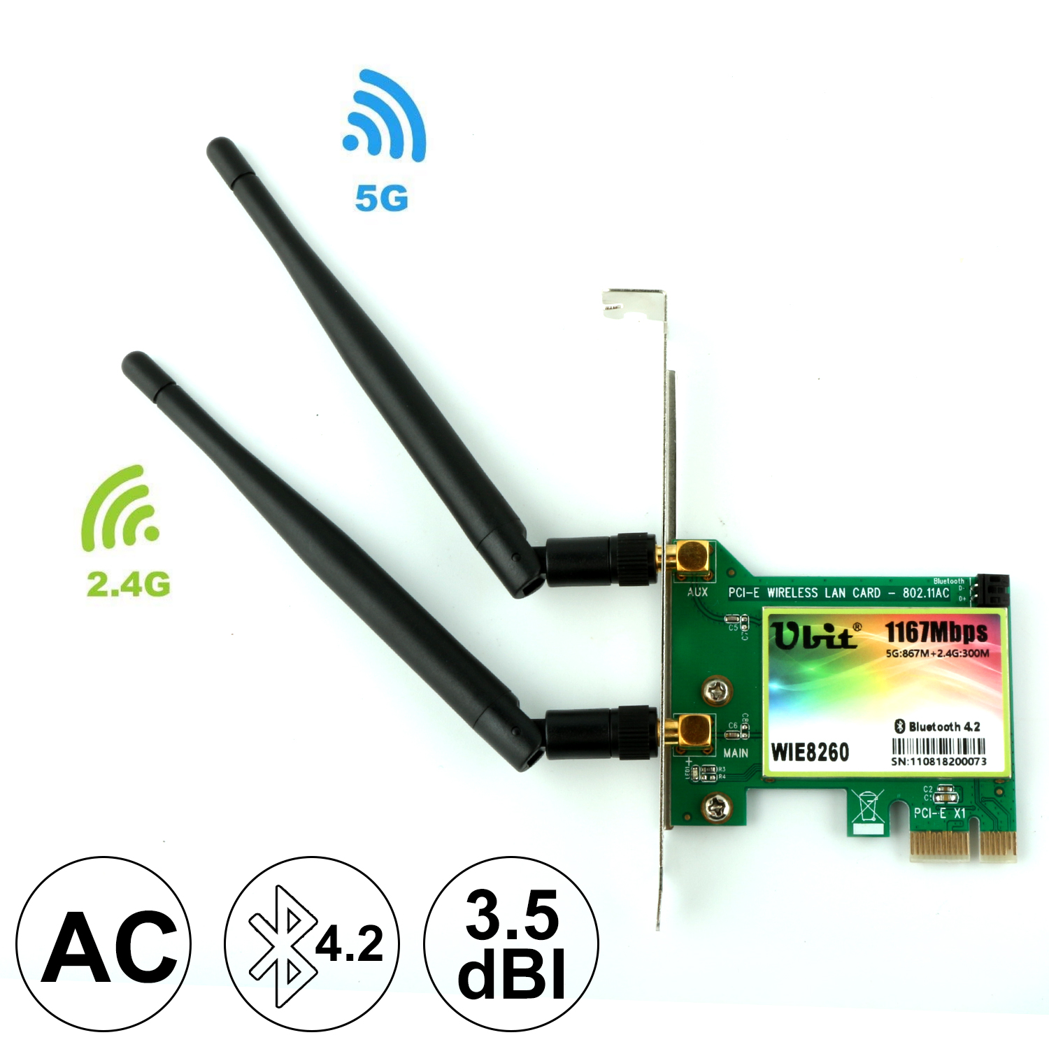 Ubit AC 1167Mbps 8260 Bluetooth 4.2 Wireless Network Card, 802.11 Wifi Card ,5Ghz-867Mbps/2.4Ghz-300Mbps Network Card For PC(China)