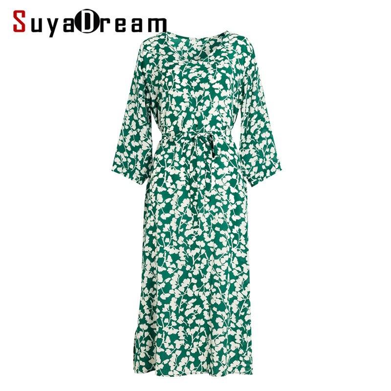 Femmes robe 100% réel soie crêpe ceinturé Floral imprimé robes pour femmes col en V 2019 printemps nouvelle tenue décontractée vert