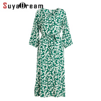 Women Dress 100% REAL SILK CREPE Belted Floral Printed Dresses for Women V neck 2019 Spring New Casual Dress Green