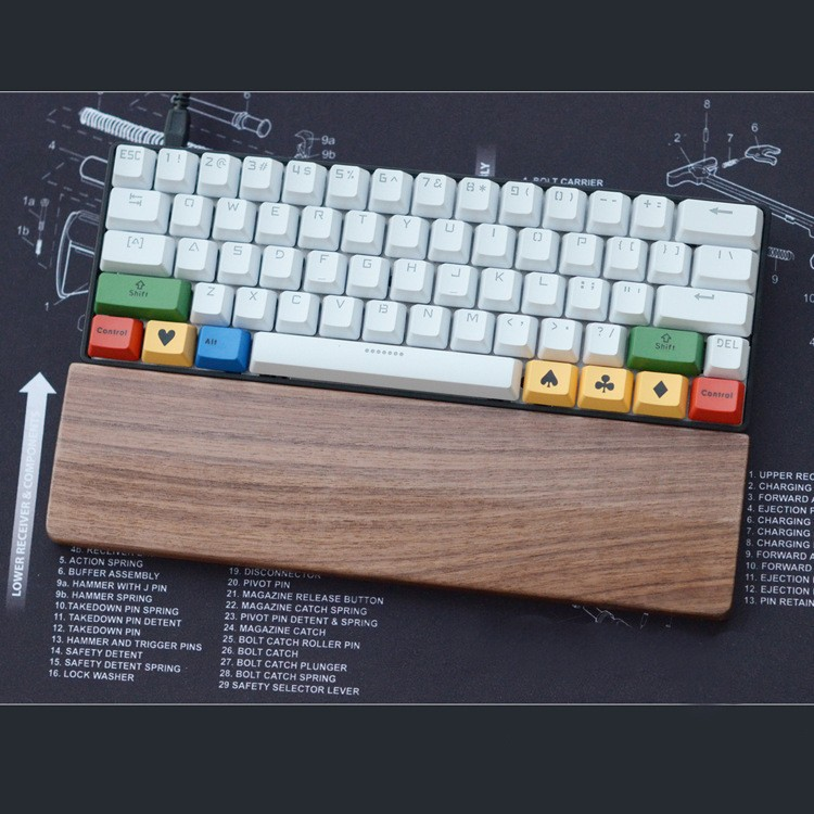Mouse Pads Wood Walnut For Palm Rest Keyboard Wrist Protection Anti-skid Pad For 60 Key 11.8'' For Gaming Keyboard
