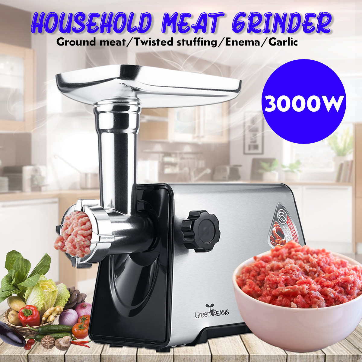 300r/min 220V 3000W Commercial Stainless Steel Meat Grinder 3 Knifes 3 Tubes Butcher Easy To Clean Durable Kitchen Appliances