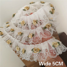 5CM Wide High Quality Tulle 3D Flowers Pleated Chiffon Lace Ruffle Trim Folded Sewing For DIY Curtains Garment Dress Collar