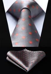Для мужчин галстук Тканые шелковый галстук серый оранжевый горошек платок в крапинку комплект TD1002A18S вечерние свадебные классические