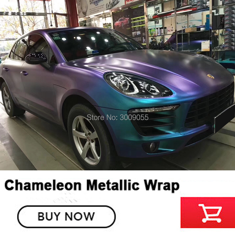 Highest quality real picture Chameleon vinyl blue to purple Chameleon metallic wrapping film low initial tack