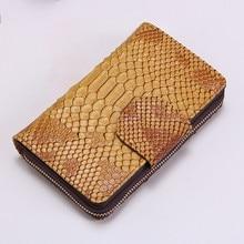 Купить с кэшбэком New Women Wallets Genuine Leather Wallet Snake Leather Clutch Bags Coin Purse Woman Carteira Feminina Embossed Zipper Wallet Sac