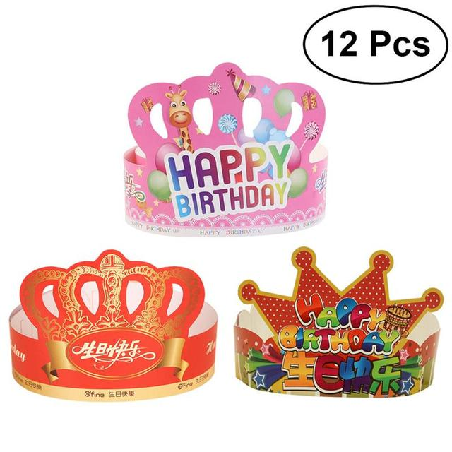 12 Pcs Birthday Crown Hats Happy Letter Paper Tiara Party Supplies For Kids And Adults