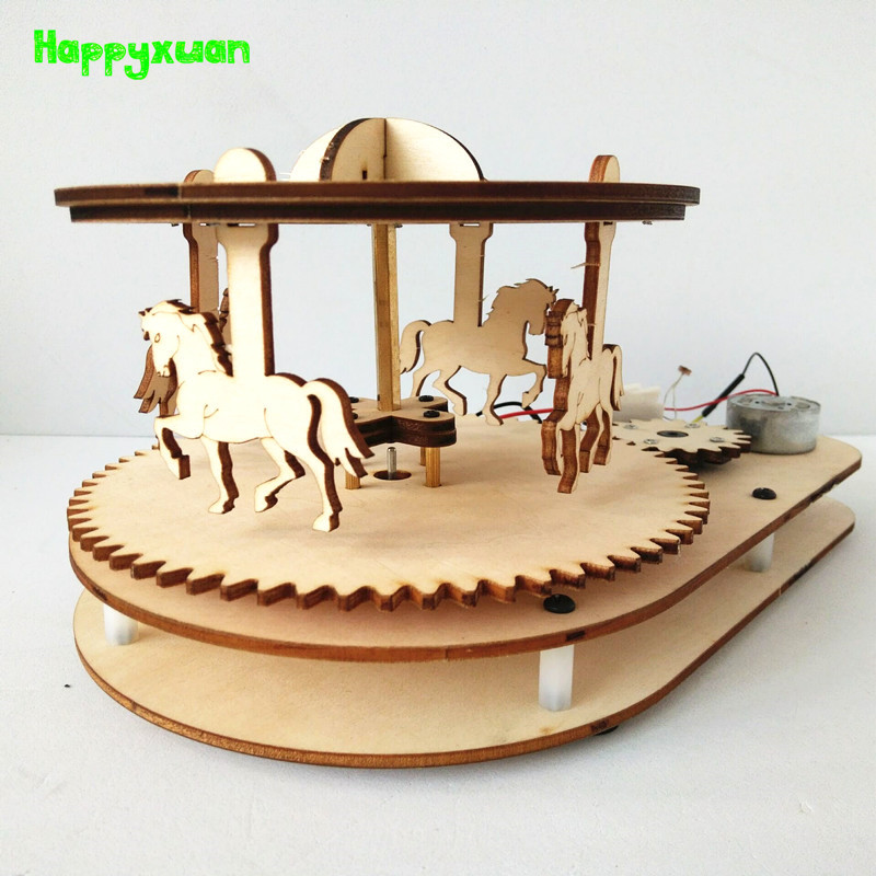 Happyxuan DIY Voice Control Wood Carousel Horse Kids Inventions Science Toys School Projects Kits Educational STEM Gift Girls