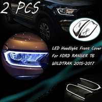 2pcs Matte Black LED Head Light Front Shell Cover Trim For FORD RANGER T6 WILDTRAK 2015 2016 2017 ABS Lamp Hoods