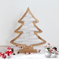 Lighting Christmas Tree Solid Wood Desktop Hotel Storefront Soft decorated Christmas Ornament Wooden Star Holiday Decorations