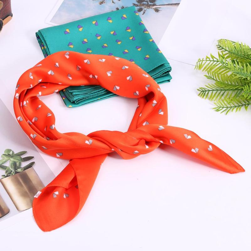 Elegant New Women Artificial Satin Silk Square   Scarf   Lady Floral Print Small   Scarves     Wrap   Handkerchief Bandana Accessories