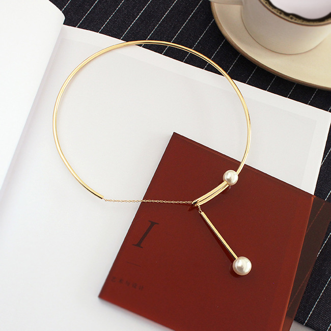 Free shipping Fashion cool wind contracted chain pearl collar clavicle necklace