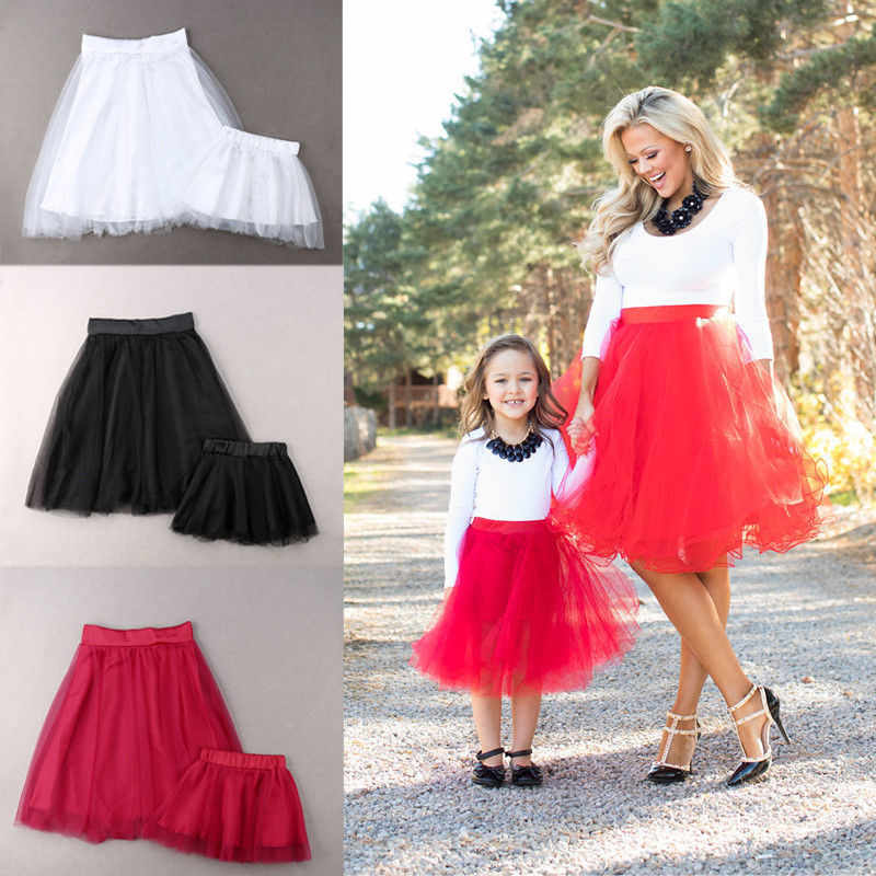 094149d24 Fashion Family Matching Clothes Mother Daughter Party Tutu Tulle Skirts  Women Kids Girls Solid High Waist