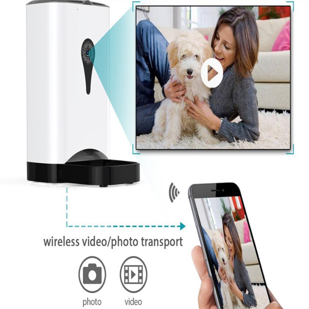 Ue 4.5L Alimentatore Dell'animale Domestico Wifi a Distanza di Controllo di Modo Intelligente Alimentatore Automatico Dell'animale Domestico Cani Cibo per Gatti Ricaricabile con Monitor Video - 6