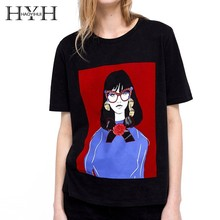 HYH HAOYIHUI  Simplicity Cool Color collision stitching Printing decoration Round collar T-shirt