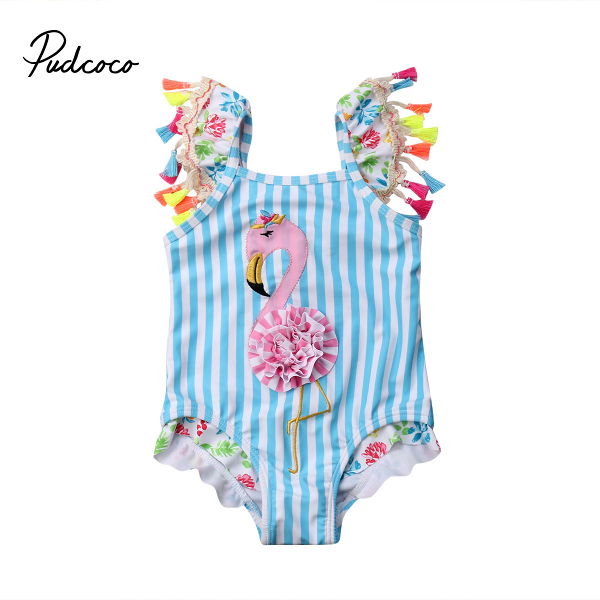 6M 5T Flamingo Girls Kids Swimsuit Cartoon Bathing Suit Print Children Swimwear Bikini Tankini -1338