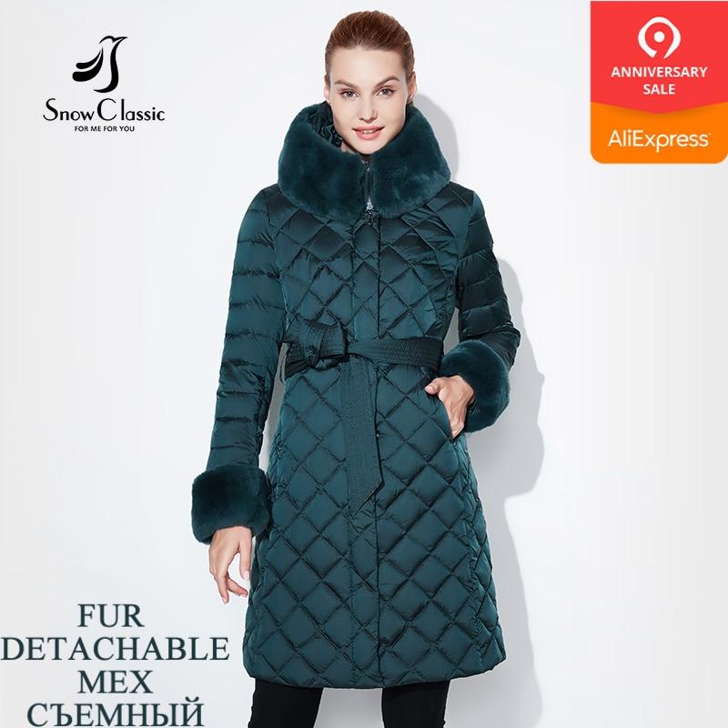 Womens Classical Winter Warm Woolen Fur Hooded Long Parka Jacket Trench Coat