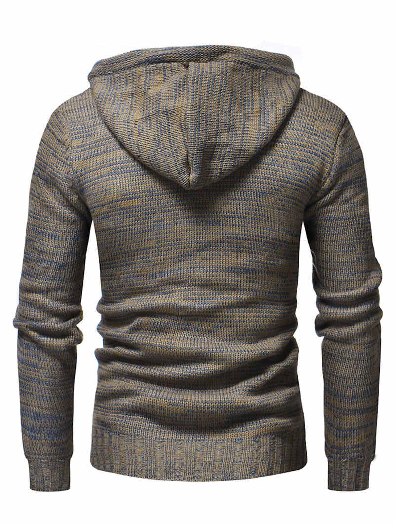 Hemkis/мужской свитер с капюшоном на шнурке, с полупуговицами, новинка 2019, пуловеры с длинными рукавами, мужская повседневная модная верхняя одежда, свитер, топы