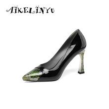 AIKELINYU 2019 High Quality Snake Texture Genuine Leather Women Heels Shoes Fashion Mixed Colors Lady Party Career Pumps Woman