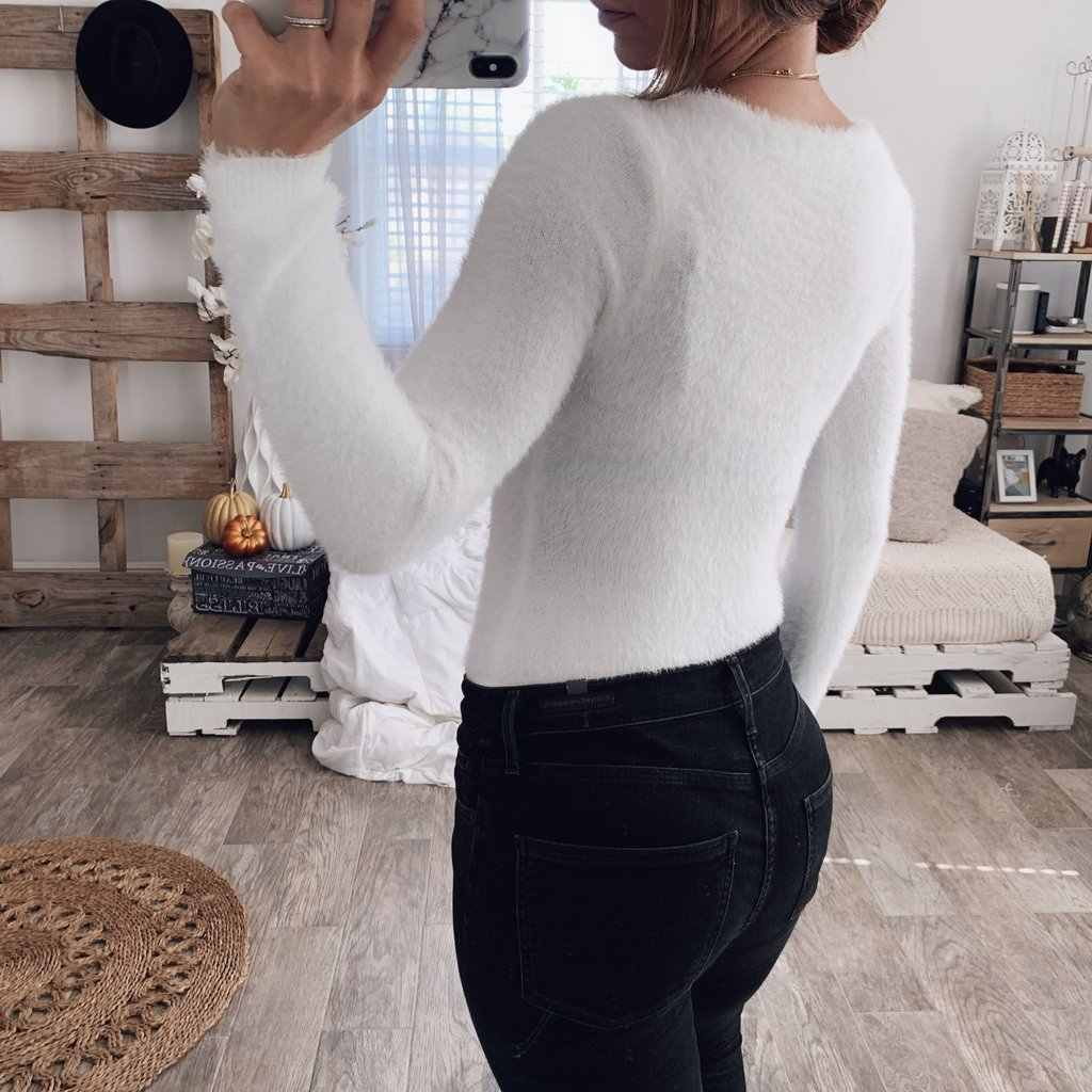e9fe61a03f288 ... Sexy Knitted Bodysuit Women Long Sleeve Fleece Kniwear Jumpsuit Bodycon  Bodysuits V Neck Leotard Top White ...
