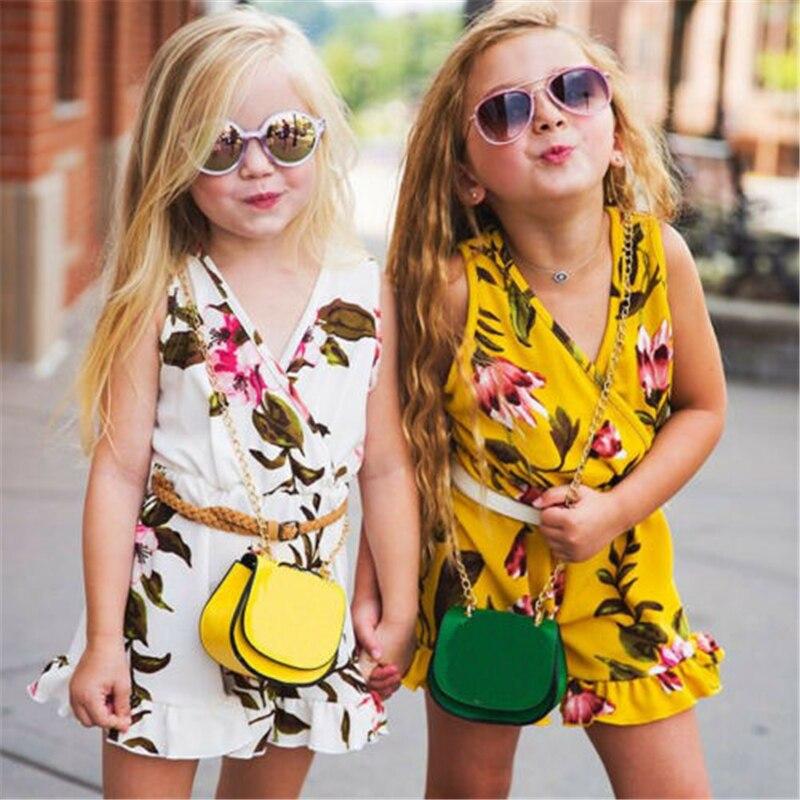 New Fashion Cute Baby Kids Girls Floral Sleeveless   Romper   Summer V Neck Little Ladies High Waist Jumpsuit Summer Sets