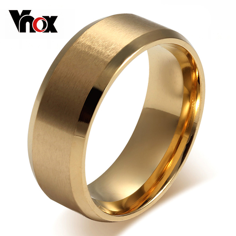 Vnox stainless steel 8mm Matte flat rings for women gold-color wedding rings