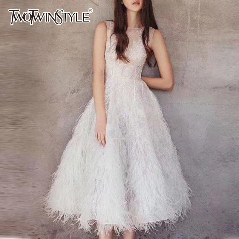 Deuxtwinstyle robe de soirée femme col rond sans manches broderie perles plume Midi robes femmes élégant mode 2019 été