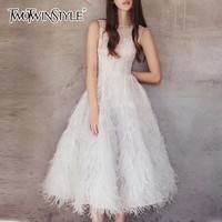 TWOTWINSTYLE Party Dress Female O Neck Sleeveless Embroidery Beading Feather Midi Dresses Women Elegant Fashion 2020 Summer