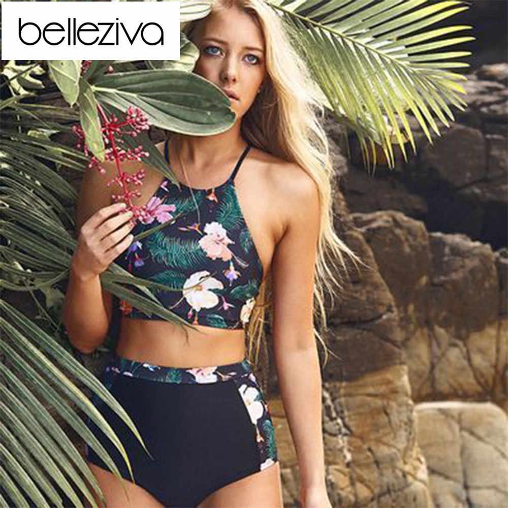 Женский купальник бикини Belleziva с высокой талией и цветочным принтом в виде