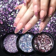 1 Box Holo Nail art Glitter Flakes Meerjungfrau Hexagon Pailletten Shiny Chrome Pigment Pulver für Gel Nail art Dekoration Spitze CHDH01 11