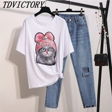 4b9c10f0f 2019 verano lindo lentejuelas cuentas de gato de dibujos animados camiseta  + Slim Jeans conjunto de ropa Casual de verano de .