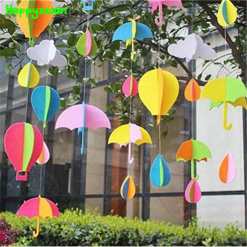 32pcs/pack Non-Woven Felt Fabric Craft Umbrella Hot Air Balloon DIY Creative Kindergarten Classroom Decoration Supplies