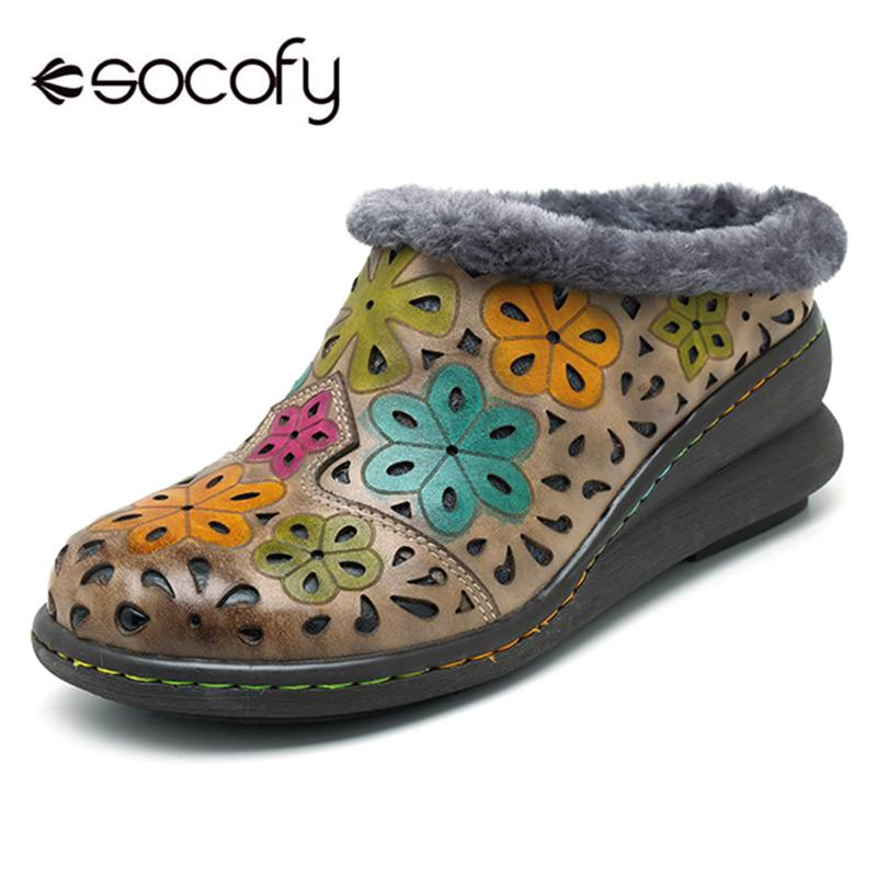 Socofy Vintage Printed Plush Inner Genuine Leather Winter Snow Shoes Women Warm Fur lined Women Shoes Woman Loafers Flats Botas