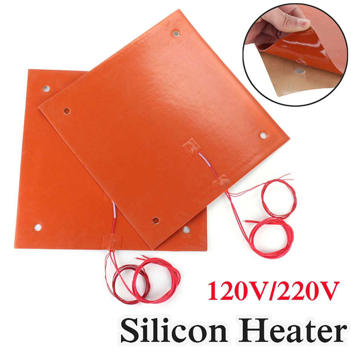 750w 310*310mm 120v/220v Flexible Waterproof Silicone Heated Bed Heating Heater Pad For CR-10 3D Printer Bed Holes