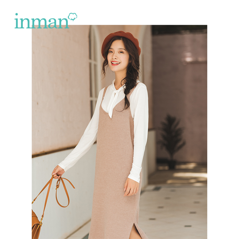 INMAN Winter New Arrival Lace Stand Collar Shirt Knitting Jumpsuit Dress Woman Two-pieces Suits