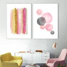 Настенная картина розовая золотая абстрактная блестящая на холсте