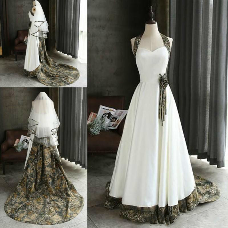 Camo Top Design Wedding Dresses Vintage Fashion Custom Made Chapel Bridal  Gowns With Elbow Length Veils 66803124fc25