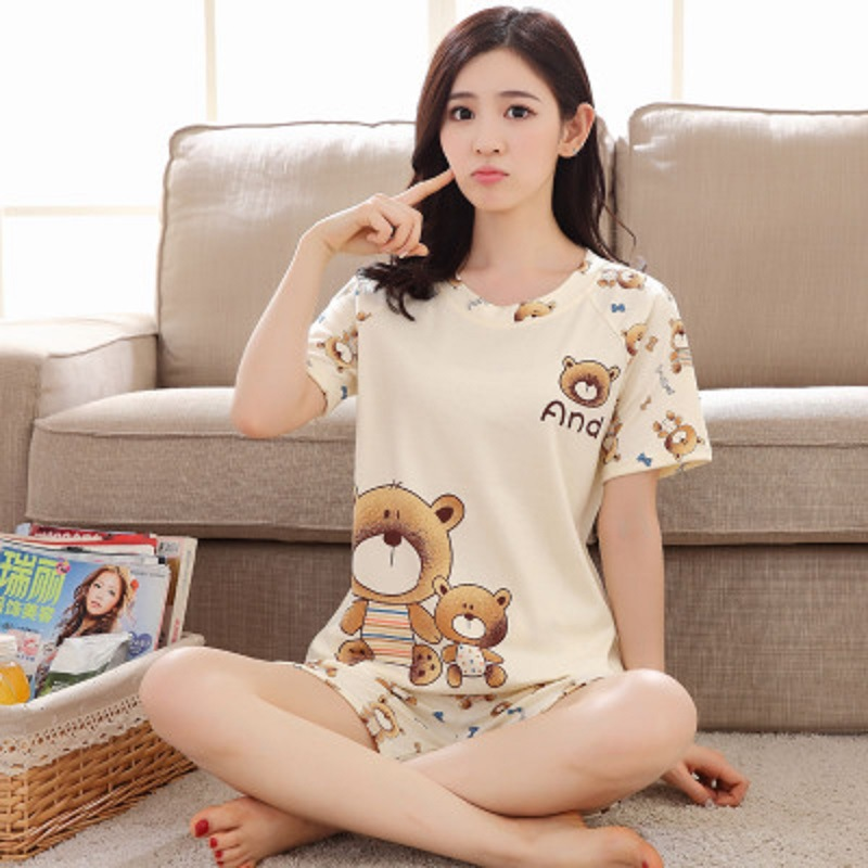 2019 Summer   Pajamas   For Women Short-sleeved Shorts Pyjamas Cartoon Suit Girls Students Casual Sweet   Set   Home Service Sleepwear