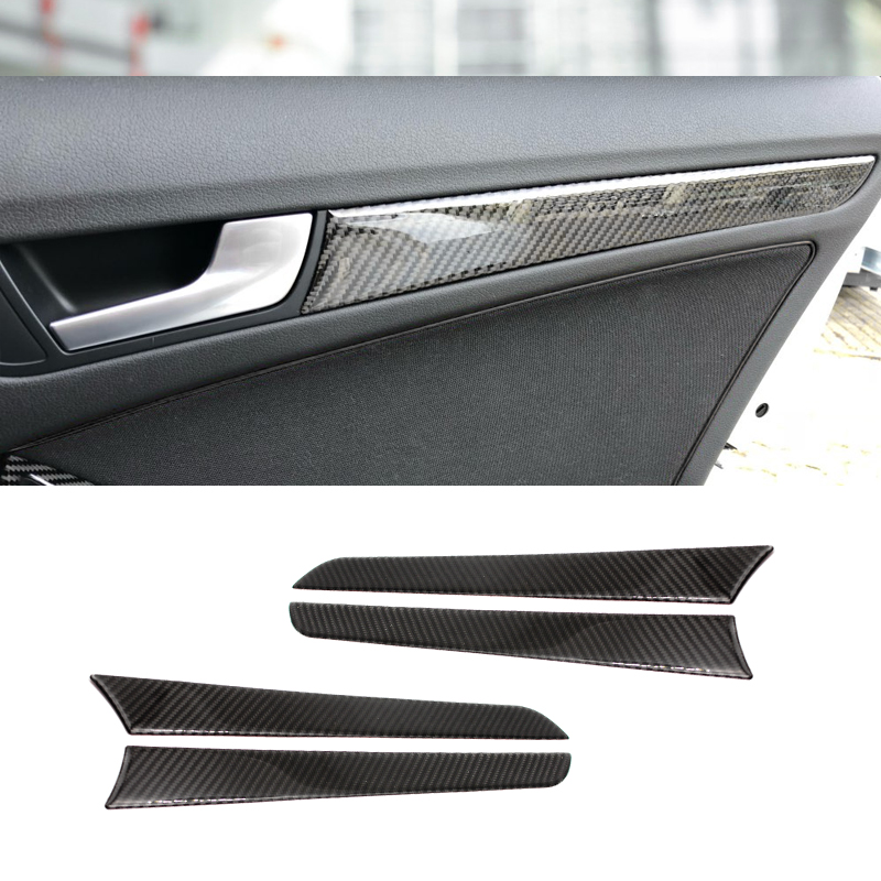 For <font><b>Audi</b></font> <font><b>A4</b></font> B8 A5 2010 2011 2012 <font><b>2013</b></font> 2014 2015 2016 Carbon Fiber Window Door Panel Trim Cover image