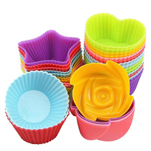 6pcs/Lot Silicone Mold Heart Rose Flower Cupcake Soap Cake Nonstick Heat Resistant Muffin Baking Molds