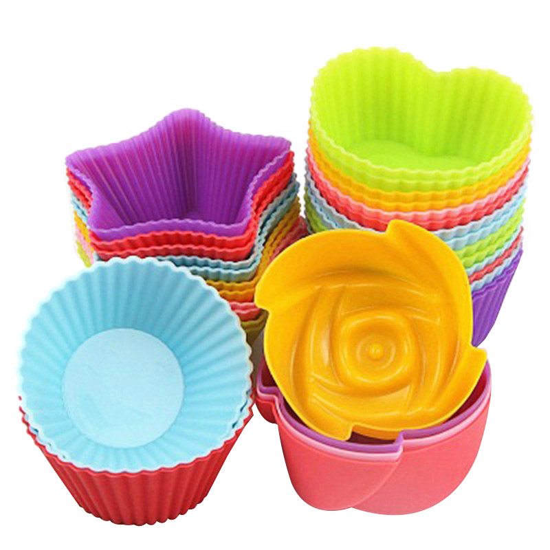 6pcs Silicone Mold Heart Rose Flower Cupcake Soap Silicone Cake Mold Nonstick Heat Resistant Muffin Baking Molds
